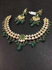 Gold Tone Green Stone Kundan Set Necklace Wedding Jewelry Bridal Women Jewelry
