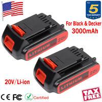 2X 3000mAh For Black & Decker LBXR20 20V Lithium Ion Battery LB20 LBX20 LCS1620