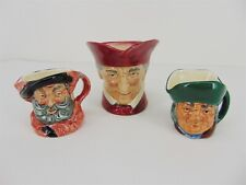 3 Vintage Royal Doulton Character Small Mini Toby Mug Jugs