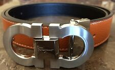 """Men Belt Ferragamo Made in Italy Beige 34"""" Silver Buckle"""