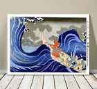 "Beautiful Vintage Japanese Art ~ CANVAS PRINT 24x18"" ~ Waves at Kakuda"