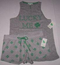 NWT PJ Salvage Gray/Green LUCKY ME SHAMROCK Knit Top/SHORTS Pajama/Lounge Set XL