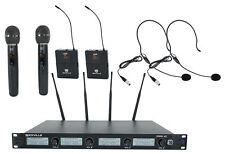 Quad Inalámbrico Uhf De Mano Rockville RWM-4Z Sistema de Micrófono Auricular/20 Canales