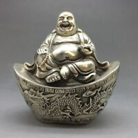 Collection Old China Tibet silver carved maitreya longfeng Buddha statue