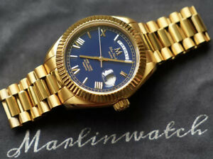 Marlinwatch Day Date Mens Gold Diver Watch Automatic