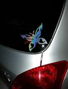 Butterfly decal sticker Silver Rainbow Sparkle Laptop car window fridge walls