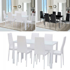 White Glass Dinning Table Set+ 4/6 Chairs PU Leather High Gloss Dining Furniture