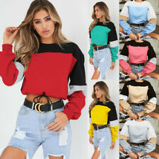 UK Womens Crop Tee Shirt Long Sleeve Sweatshirt Tops Jumper Ladies Splice Blouse