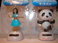 2 X SOLAR DASHBOARD DANCING NEW NOVELTY FLIP FLAP PAL Panda/ Hula girl)