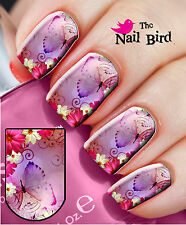 Nail Art Nail Wraps Decals Nail Transfers Designs 20 Pink Butterfly/Flowers