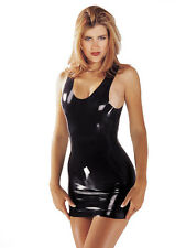 SHARON SLOANE 100% Vero Latex Lattice Mini Abito con Spalline Aderente Nero Tg M