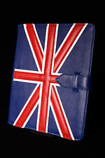 iPad 2 3 & 4 (UNION JACK Blue Lambskin) Real Genuine Leather Cover Case Stand