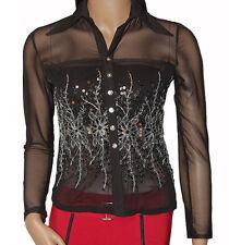 C019 - Ladies Black Mesh Silver Embroidery Shirt - UK 10/12