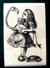"""P13  Alice in Wonderland croquet 2.4x2"""" WM rubber stamp"""