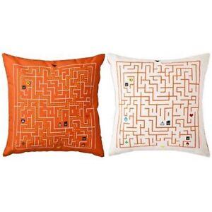 Ikea Slingrig Kids Teen Video Game Pillow Orange & Off White Decorative Throw