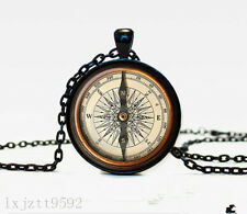 Compass Charm Glass Dome Cabochon Black Chain Necklace Pendant Jewelry (WC130)