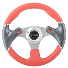 320mm 6-Bolts Racing Steering Wheel Red PVC Leather Carbon Look W/ TRD Emblem