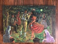 1967 OIL ON CANVAS PAINTING Artist Signed SPANISH MOONLIGHT FIESTA DANCE Lady Ma