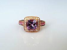Beautiful LeVian 14k Strawberry Gold Amethyst, Pink Sapphire & Diamond Ring