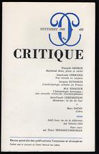 « Critique » n° 438, 1983. François George, Jean-Louis Chrétien, Marc Dachy...