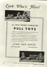 1944 PAPER AD Aime Des Biens Walt Disney Pull Toys Donald Duck Mickey Mouse ++
