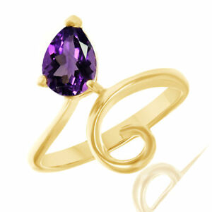 0.95 Ct Pear Shape Amethyst In 18K Yellow Gold Over Sterling Silver Bypass Ring