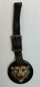 Antique Ca. 20s-30s Vtg DETROIT TIGERS Bakelite Baseball Key Fob w Leather Strap