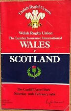 Wales vs Scotland Rugby Programme 20.02.1988 (With ticket)