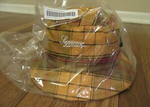 Supreme GORE-TEX Tech Crusher Bucket Hat Size M/L Gold Plaid FW21 Brand New DS