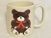 Vintage Otagiri Brown Teddy Bear Coffee Mug Cup 3D Embossed