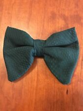 Bow Tie Vintage style 70`s Extra Large Bowtie Oversized Clip on Geometric Green