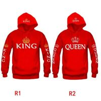 Unisex Couple Matching King Queen Hoodie Jumper Sweater Tops Sweatshirts M-XL