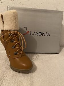 Lasonia Women's Brown Boots With Removable Laces Size 6 1/2