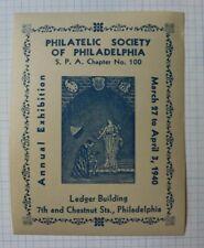 Philadelphia Pa Society Spa Expo Ledger Building 1940 Philatelic Souvenir Label