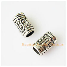 20Pcs Antiqued Silver Tone Tube Winding Spacer Beads Charms 10mm