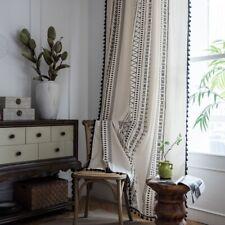 Window Rod Pocket Print Curtain Blackout Tassel Cotton Linen Hangings Home Adorn