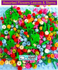 Lego Assorted Flowers Leaves & Plant Stems Blue White Pink Lime 240+ pieces NEW