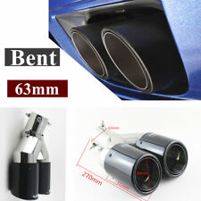 1x Glossy 63mm Bent Angle Adjustable Carbon Fiber Twin Exhaust Pipe Tail Muffler