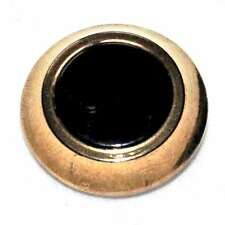 Bouton ancien en verre noir et doré attache laiton 18mm button