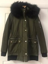 River Island Khaki Green Hooded Parka  With Black Faux Fur Trim Size 8