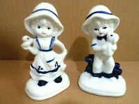 Vintage Porcelain Bisque Boy & Girl Figurine Vintage Porcelain Blue & White