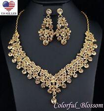 Clovers Gold Austrian Rhinestone Necklace Earrings Set Wedding Bridal Prom N39g