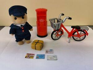 Sylvanian Families Village Postman Set With Bike And Postbox