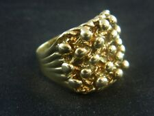 9ct Gold Hallmarked Mens Heavy Keeper Ring 10.8g, Saddle,Buckle, Knot / Size Q-R