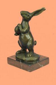 Signed Original Milo Bunny W. Basket of Candy Bronze Art Decor Sculpture Decor
