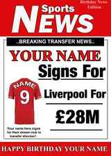 A5 Personalised Liverpool   Football Greeting Birthday Card any name , age