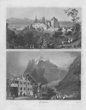 Lausanne Université - Grindelwald Wetterhorn LITHOGRAPHIE von 1845