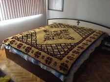 Bulgarian Colorful Hand Woven Wool Blanket Kilim Rug Frieze 100% Wool -Kitenik
