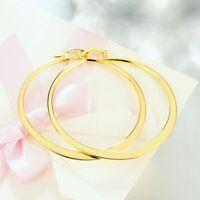 14k Yellow Gold Filigree Textured Creole Hoop Hinged Snapback Earrings plated