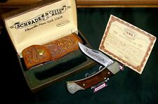 Schrade SCM7 Lockback Knife & Sheath USA Early 1980's W/Original Packaging,Rare